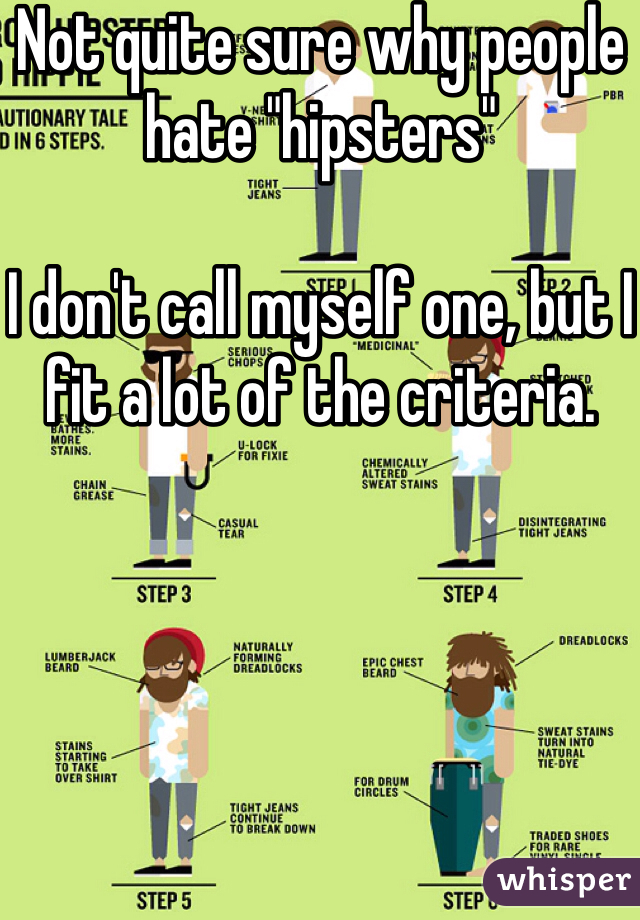"""Not quite sure why people hate """"hipsters""""   I don't call myself one, but I fit a lot of the criteria."""