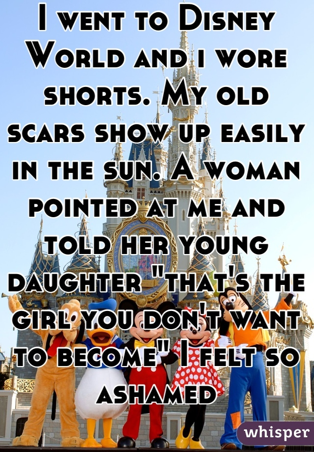 "I went to Disney World and i wore shorts. My old scars show up easily in the sun. A woman pointed at me and told her young daughter ""that's the girl you don't want to become"" I felt so ashamed"