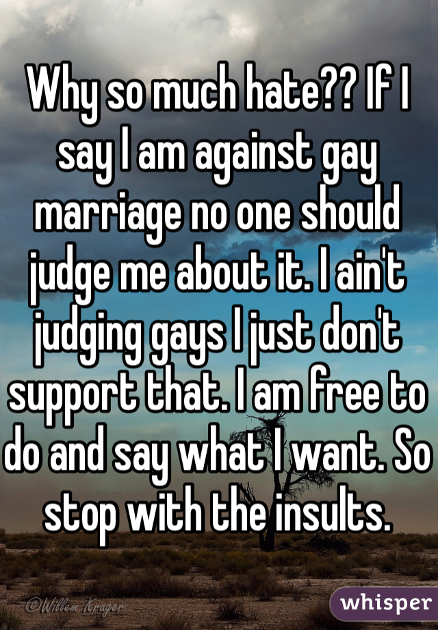 Why so much hate?? If I say I am against gay marriage no one should judge me about it. I ain't judging gays I just don't support that. I am free to do and say what I want. So stop with the insults.