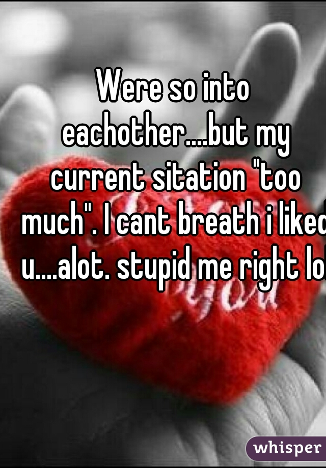 """Were so into eachother....but my current sitation """"too much"""". I cant breath i liked u....alot. stupid me right lol"""