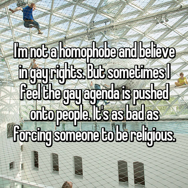 I'm not a homophobe and believe in gay rights. But sometimes I feel the gay agenda is pushed onto people. It's as bad as forcing someone to be religious.