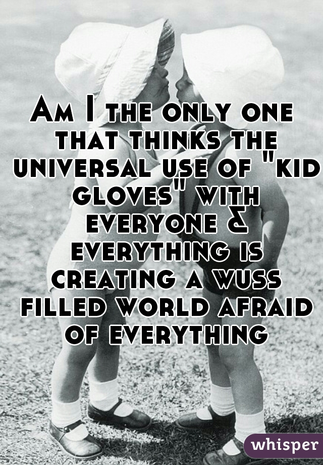 """Am I the only one that thinks the universal use of """"kid gloves"""" with everyone & everything is creating a wuss filled world afraid of everything"""