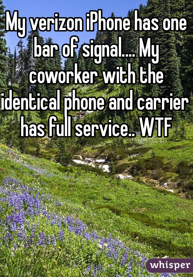 My verizon iPhone has one bar of signal.... My coworker with the identical phone and carrier has full service.. WTF