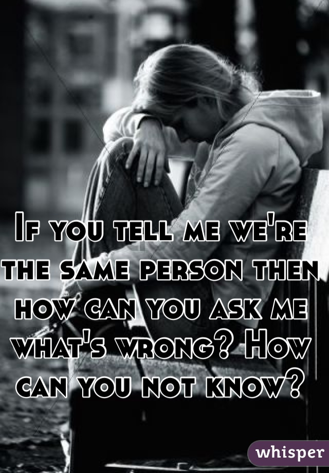 If you tell me we're the same person then how can you ask me what's wrong? How can you not know?