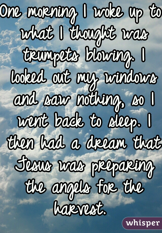 One morning I woke up to what I thought was trumpets blowing. I looked out my windows and saw nothing, so I went back to sleep. I then had a dream that Jesus was preparing the angels for the harvest.
