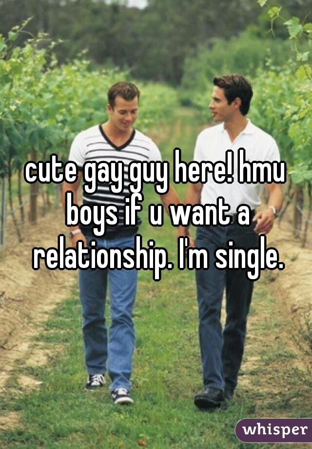 cute gay guy here! hmu boys if u want a relationship. I'm single.