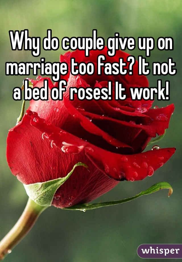 Why do couple give up on marriage too fast? It not a bed of roses! It work!