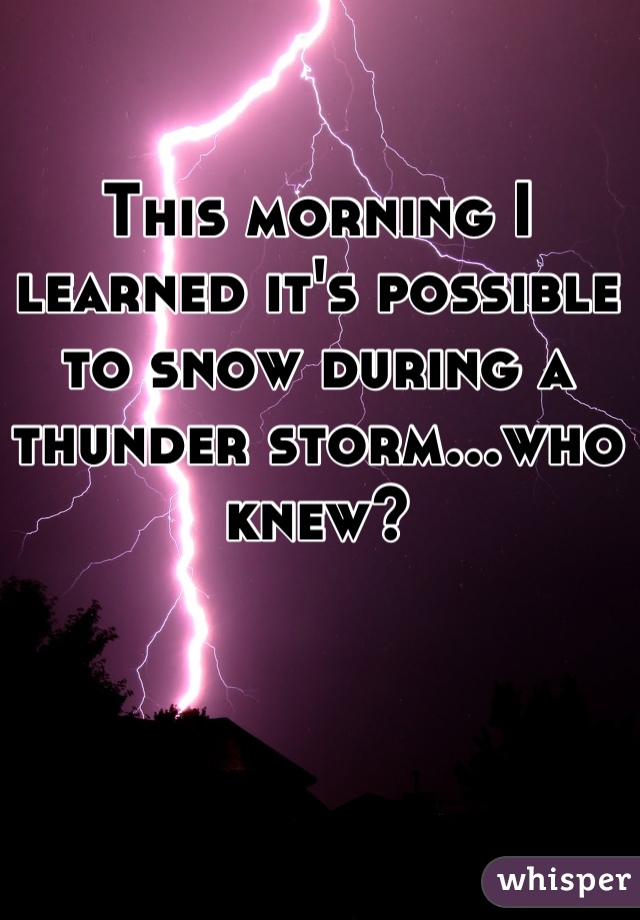This morning I learned it's possible to snow during a thunder storm...who knew?