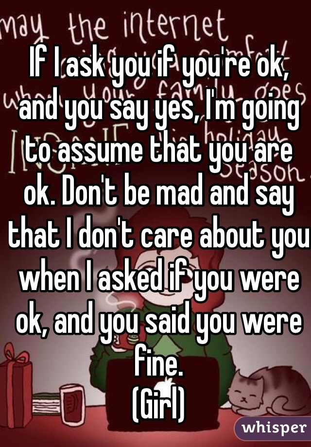 If I ask you if you're ok, and you say yes, I'm going to assume that you are ok. Don't be mad and say that I don't care about you when I asked if you were ok, and you said you were fine.   (Girl)