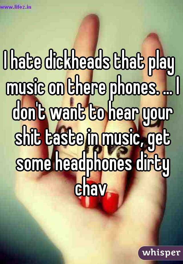 I hate dickheads that play  music on there phones. ... I don't want to hear your shit taste in music, get some headphones dirty chav