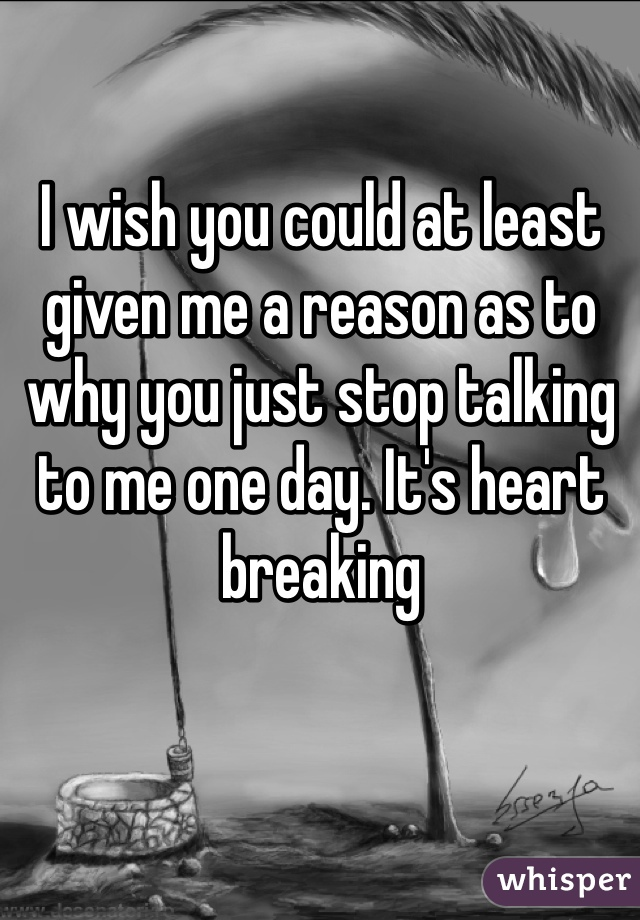 I wish you could at least given me a reason as to why you just stop talking to me one day. It's heart breaking