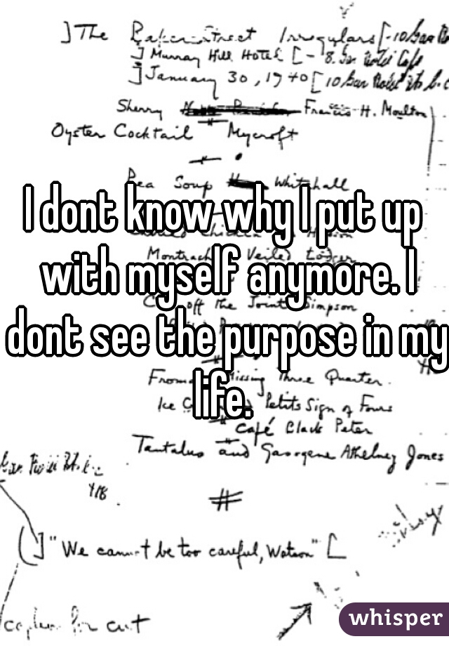 I dont know why I put up with myself anymore. I dont see the purpose in my life.