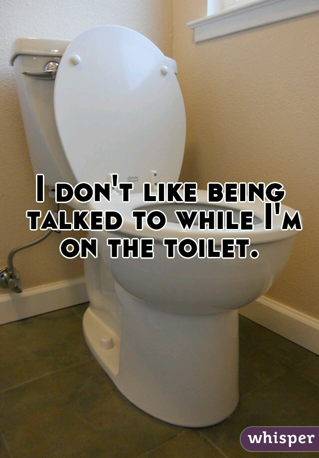 I don't like being talked to while I'm on the toilet.