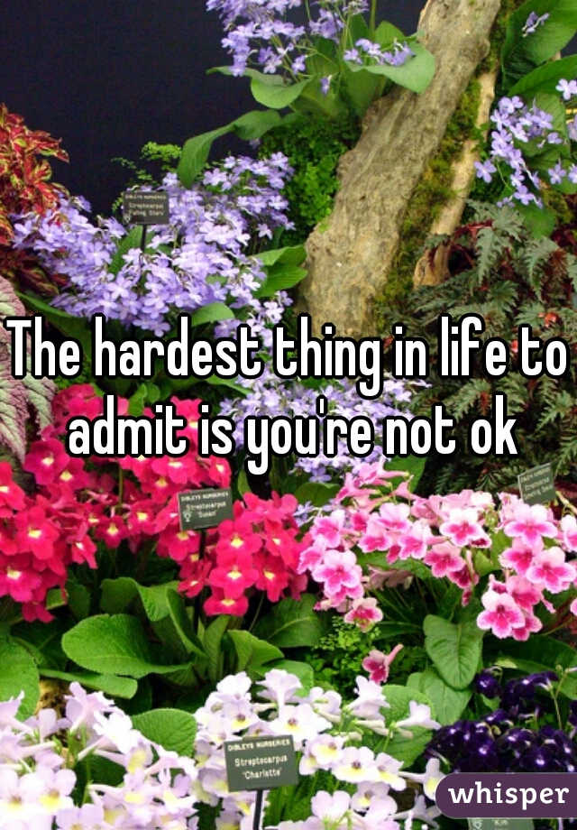 The hardest thing in life to admit is you're not ok