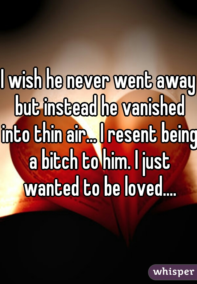 I wish he never went away but instead he vanished into thin air... I resent being a bitch to him. I just wanted to be loved....