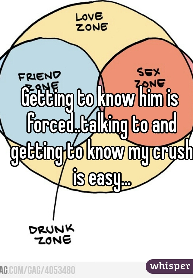 Getting to know him is forced..talking to and getting to know my crush is easy...