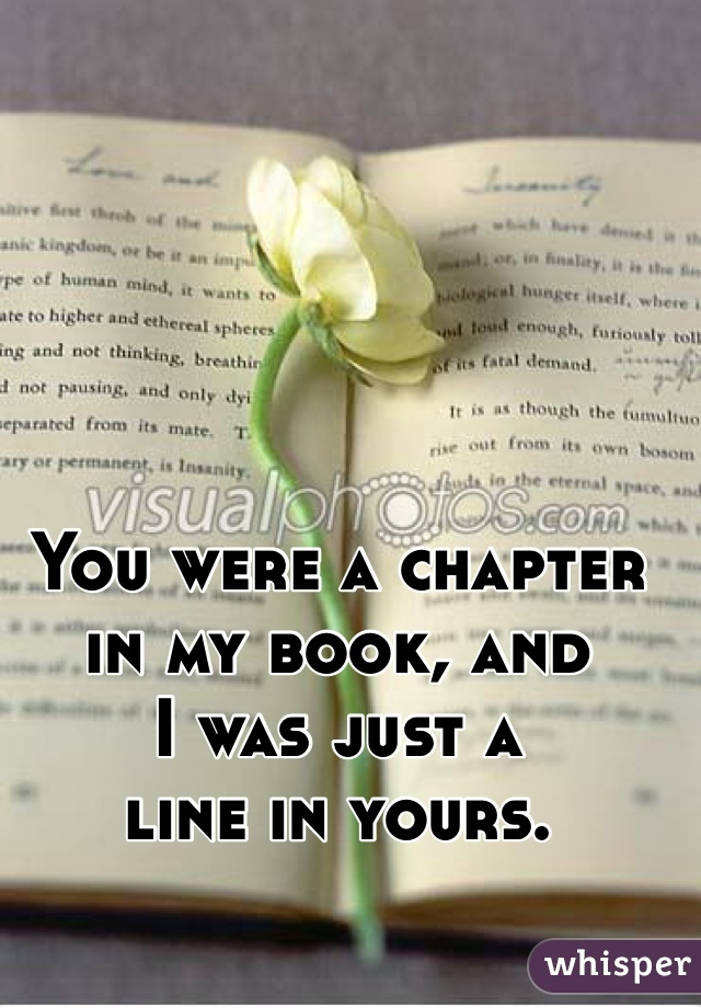 You were a chapter in my book, and I was just a  line in yours.