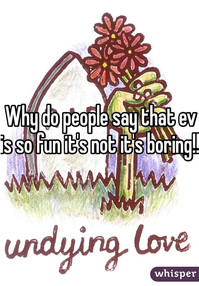 Why do people say that ev is so fun it's not it's boring!!