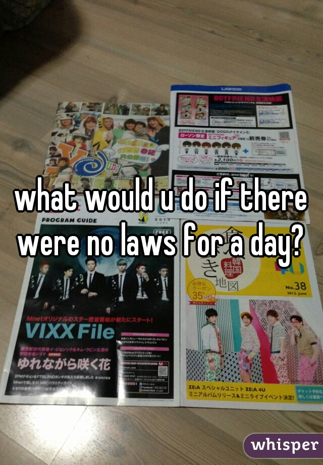 what would u do if there were no laws for a day?