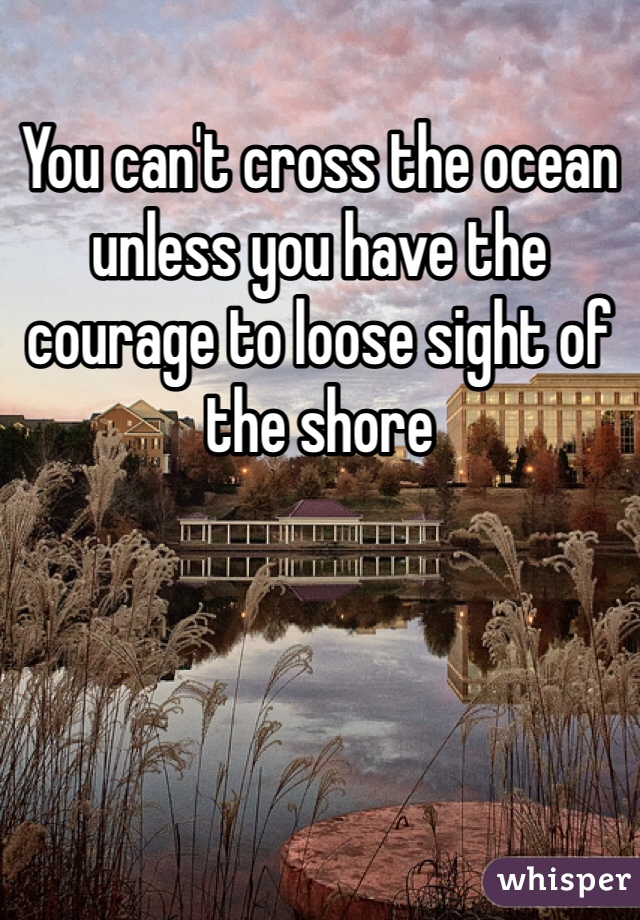 You can't cross the ocean unless you have the courage to loose sight of the shore