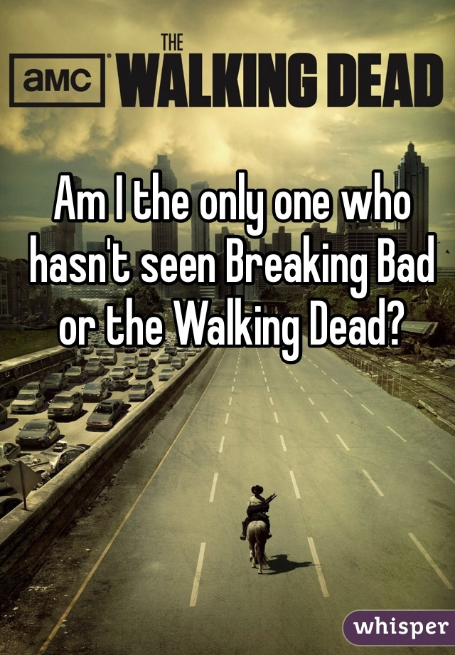Am I the only one who hasn't seen Breaking Bad or the Walking Dead?