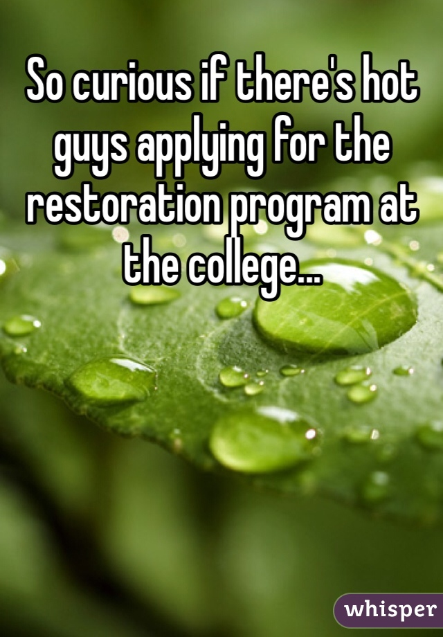 So curious if there's hot guys applying for the restoration program at the college...