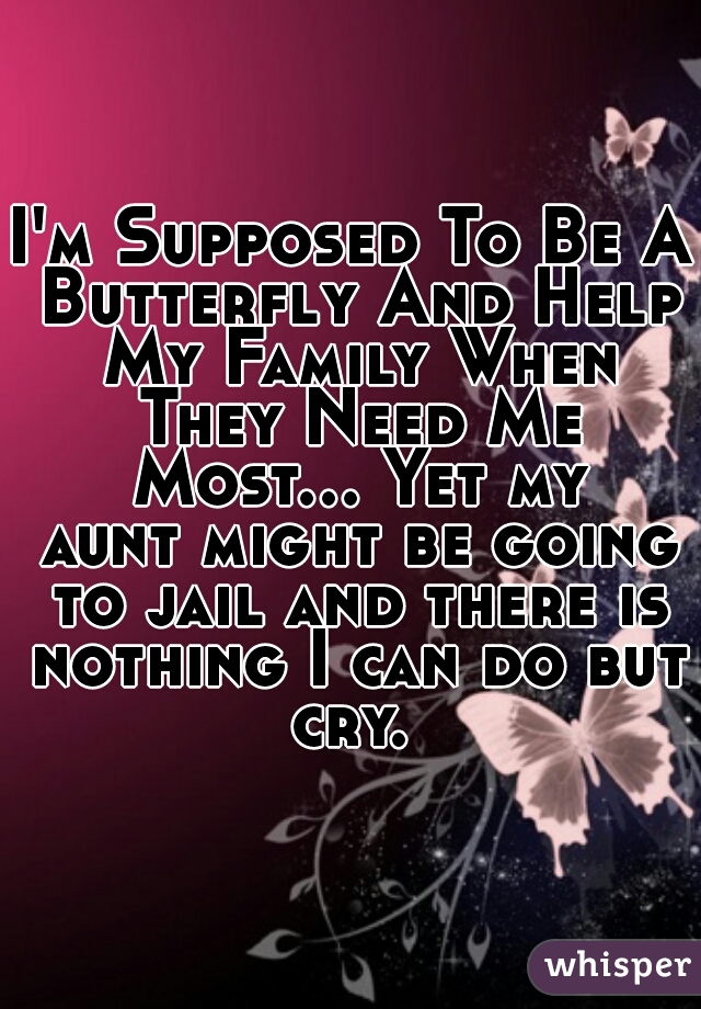 I'm Supposed To Be A Butterfly And Help My Family When They Need Me Most... Yet my aunt might be going to jail and there is nothing I can do but cry.