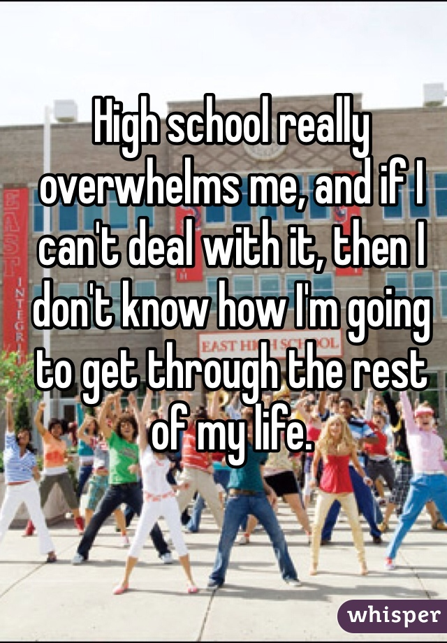 High school really overwhelms me, and if I can't deal with it, then I don't know how I'm going to get through the rest of my life.