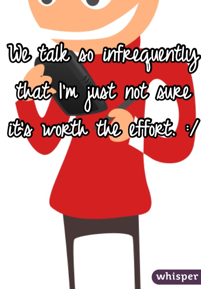 We talk so infrequently that I'm just not sure it's worth the effort. :/