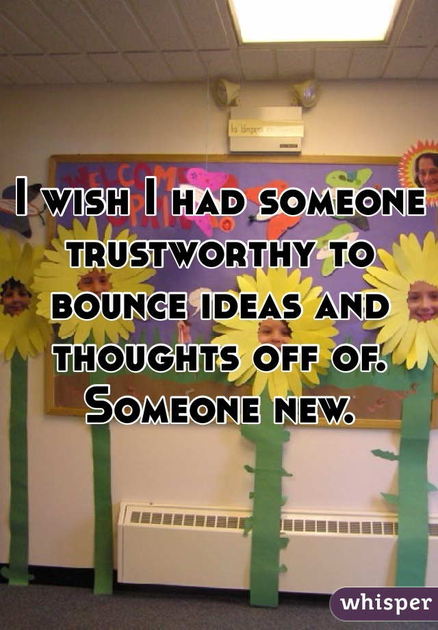 I wish I had someone trustworthy to bounce ideas and thoughts off of.  Someone new.