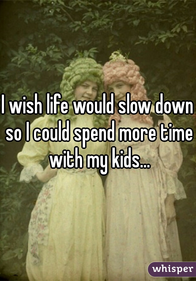 I wish life would slow down so I could spend more time with my kids...