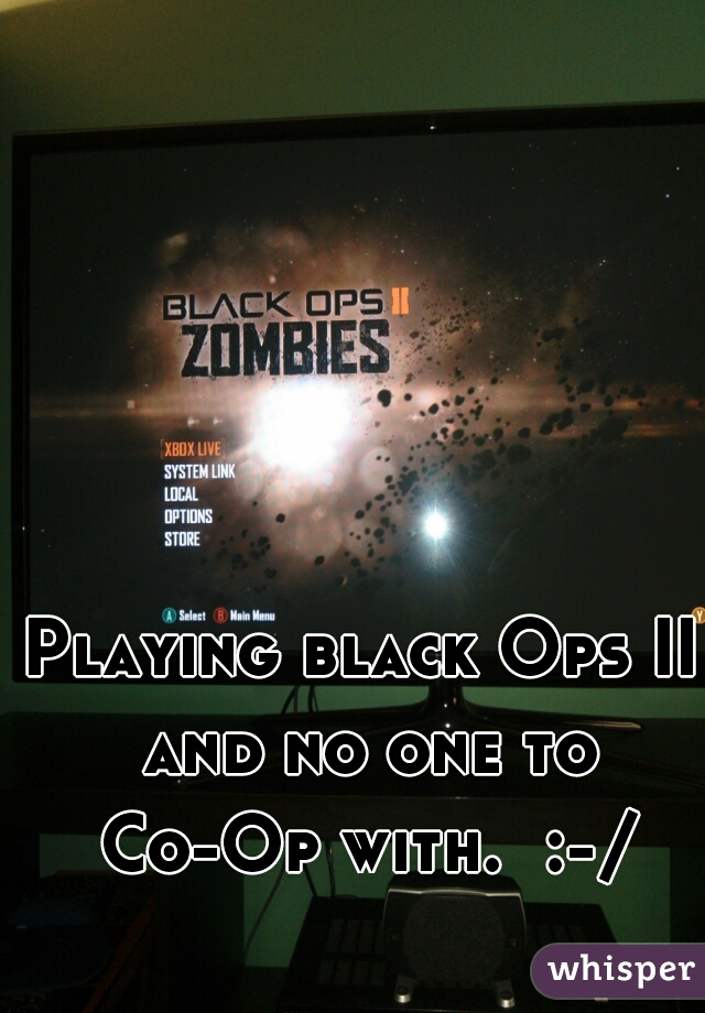 Playing black Ops II and no one to Co-Op with.  :-/