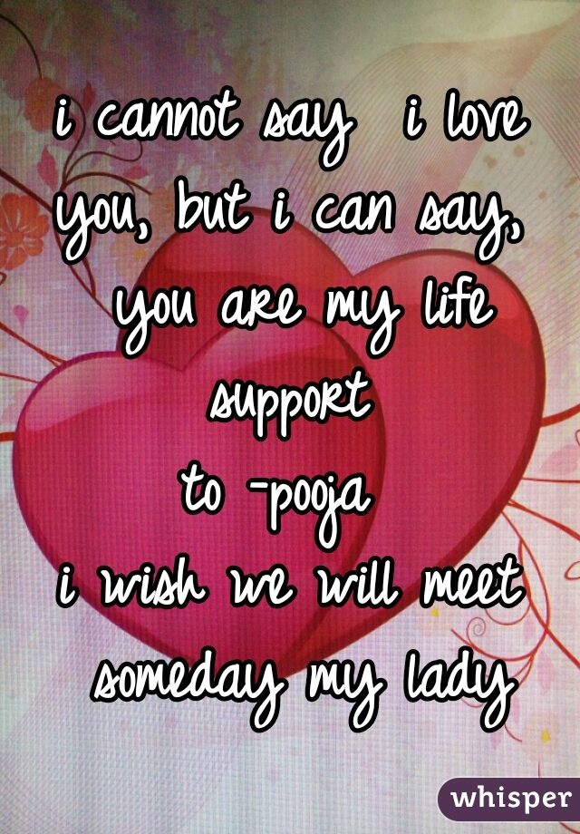 i cannot say  i love you, but i can say,  you are my life support  to -pooja  i wish we will meet someday my lady