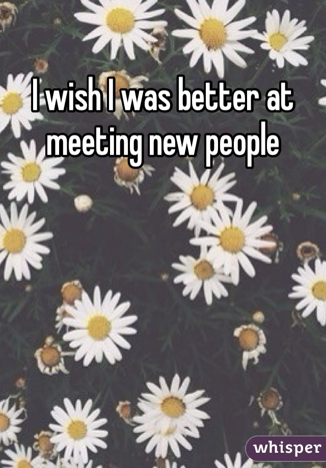 I wish I was better at meeting new people