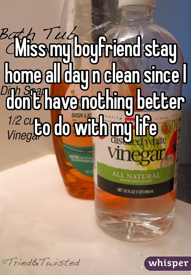 Miss my boyfriend stay home all day n clean since I don't have nothing better to do with my life