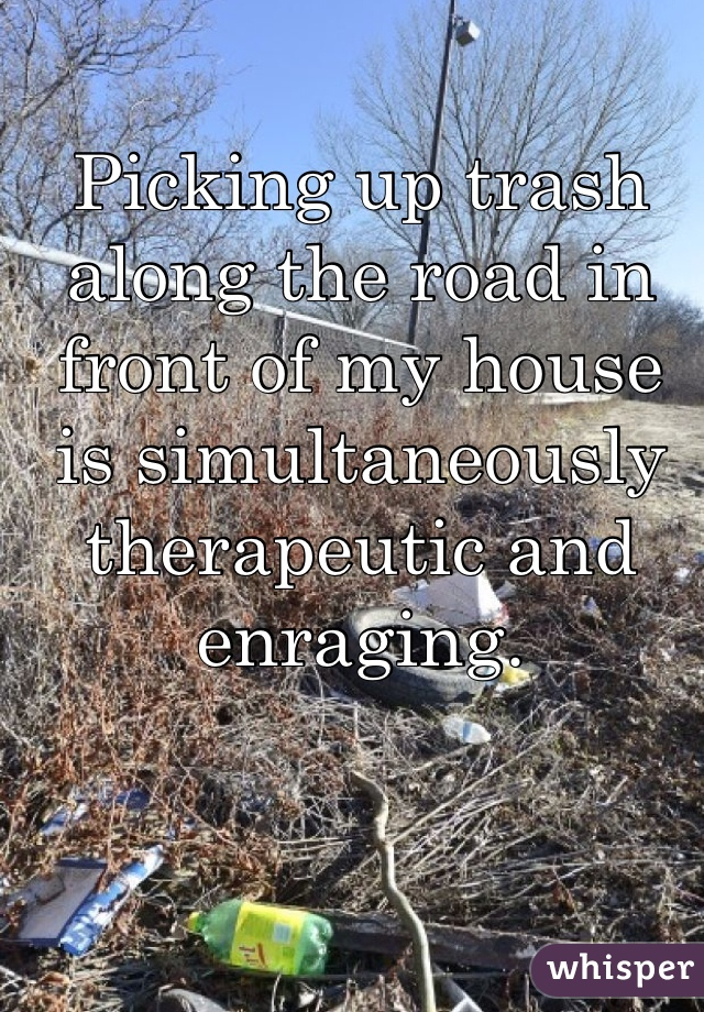 Picking up trash along the road in front of my house is simultaneously therapeutic and enraging.