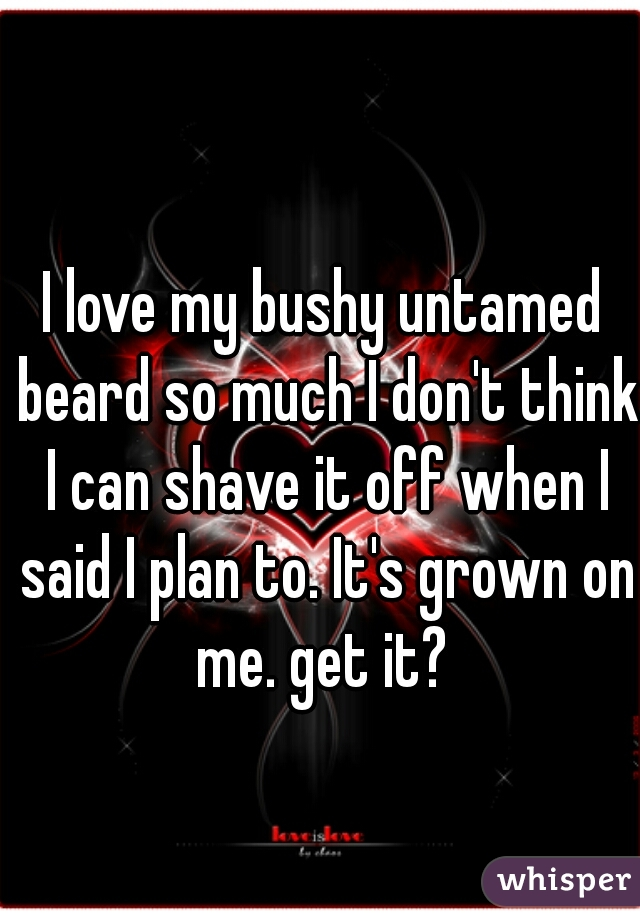 I love my bushy untamed beard so much I don't think I can shave it off when I said I plan to. It's grown on me. get it?