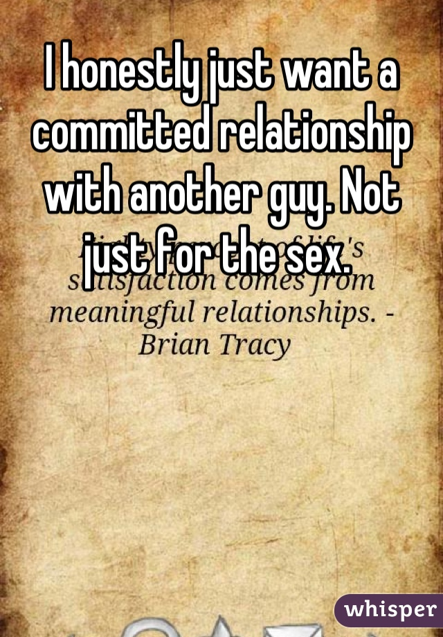 I honestly just want a committed relationship with another guy. Not just for the sex.