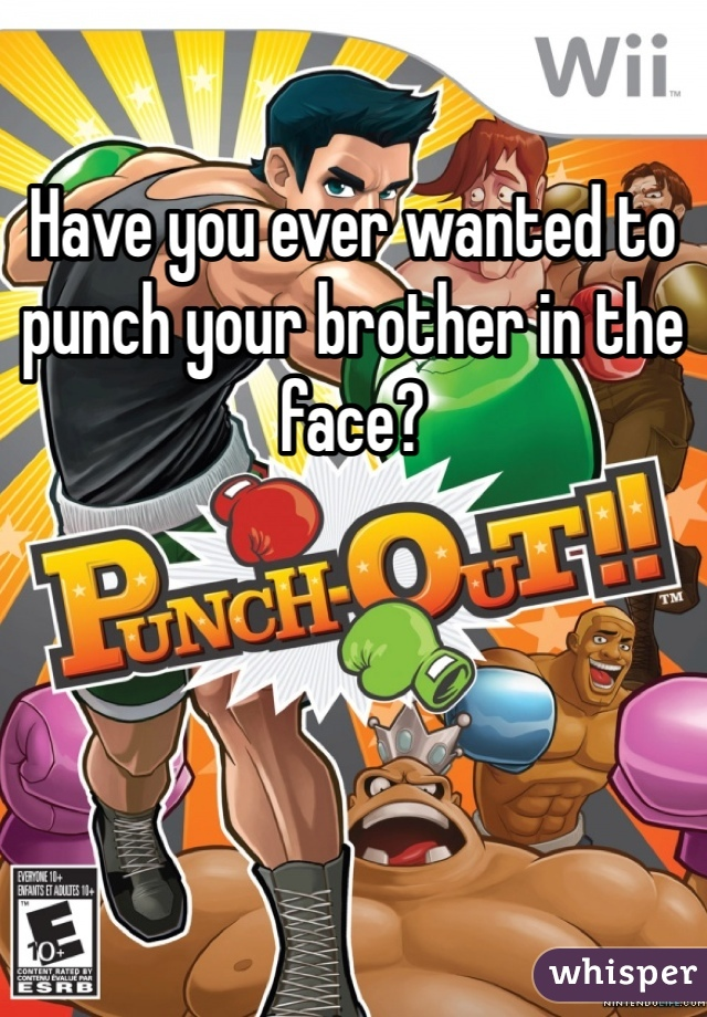 Have you ever wanted to punch your brother in the face?