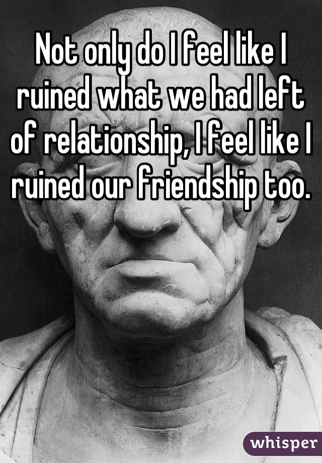 Not only do I feel like I ruined what we had left of relationship, I feel like I ruined our friendship too.