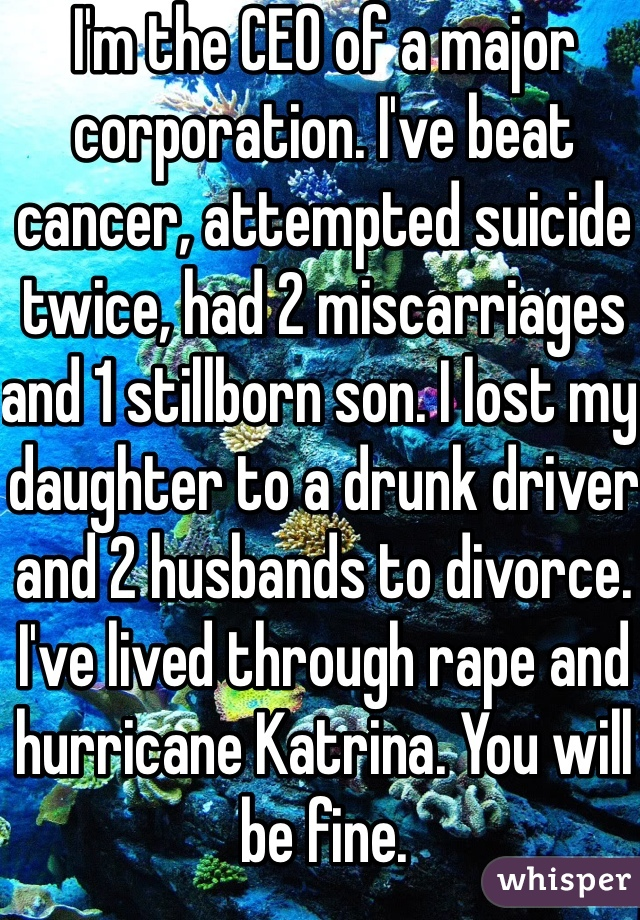 I'm the CEO of a major corporation. I've beat cancer, attempted suicide twice, had 2 miscarriages and 1 stillborn son. I lost my daughter to a drunk driver and 2 husbands to divorce. I've lived through rape and hurricane Katrina. You will be fine.