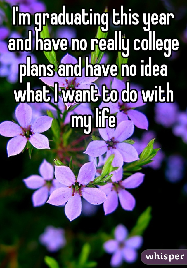 I'm graduating this year and have no really college plans and have no idea what I want to do with my life