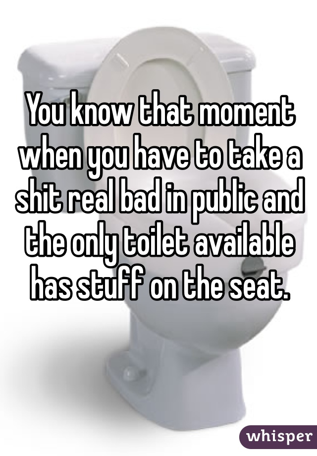 You know that moment when you have to take a shit real bad in public and the only toilet available has stuff on the seat.