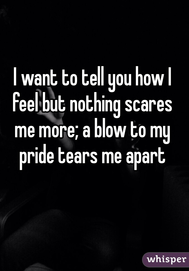 I want to tell you how I feel but nothing scares me more; a blow to my pride tears me apart