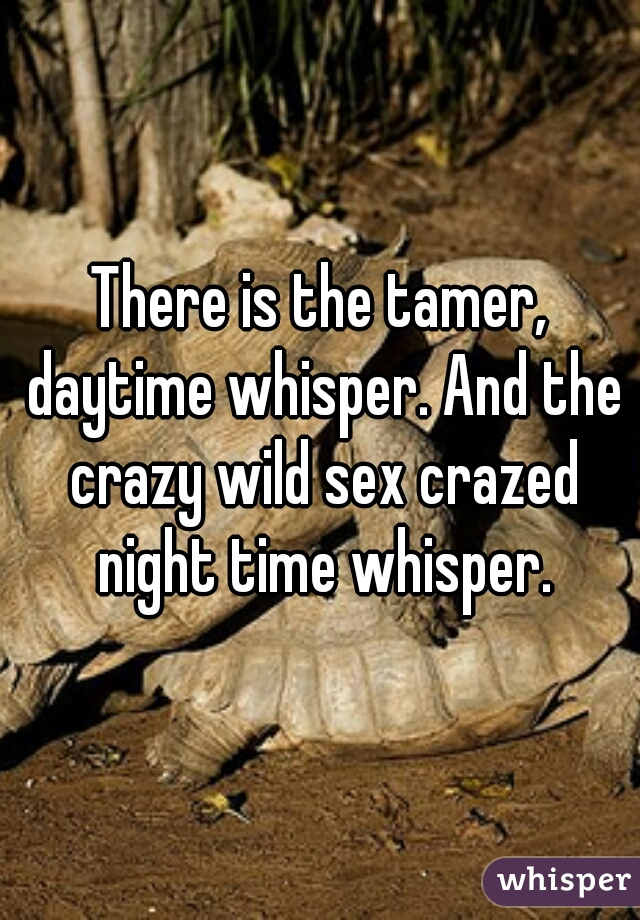 There is the tamer, daytime whisper. And the crazy wild sex crazed night time whisper.