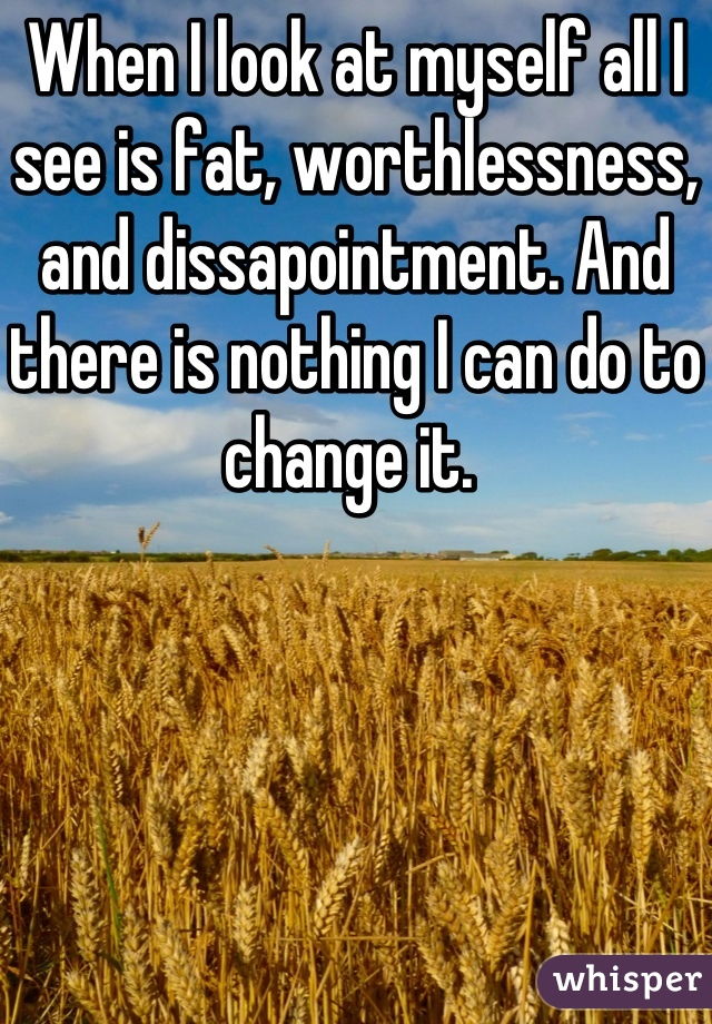 When I look at myself all I see is fat, worthlessness, and dissapointment. And there is nothing I can do to change it.