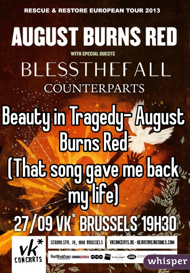 Beauty in Tragedy- August Burns Red (That song gave me back my life)