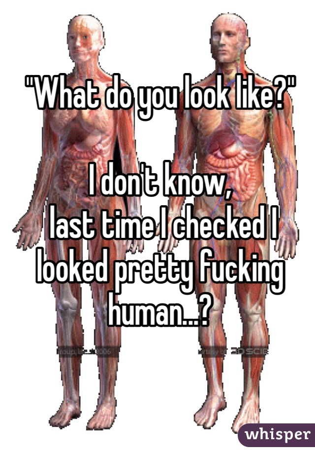 """""""What do you look like?""""   I don't know,  last time I checked I looked pretty fucking human...?"""