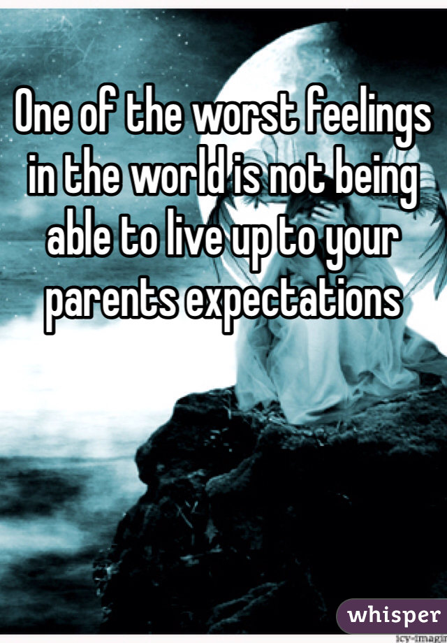 One of the worst feelings in the world is not being able to live up to your parents expectations