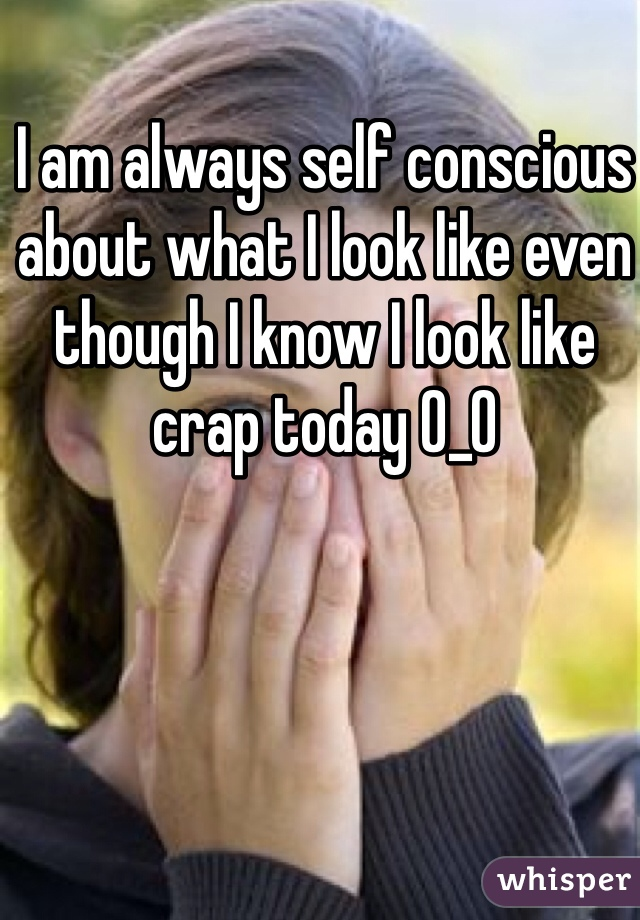 I am always self conscious about what I look like even though I know I look like crap today 0_0